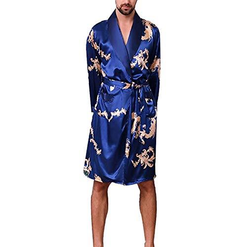 Drachen Kimono (HUANGFAKS Satin Roben Chinesische Drachen Roben Schlafanzug Seiden Schlafanzug Kimono Schlafanzug Bademantel M-5XL (Color : Blue, Size : 4XL))