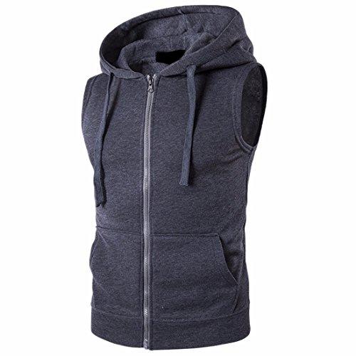 QIYUN.Z Männer Beiläufige Ohne Arm Hoodies Westen Reißverschluss Weste Sweatshirt Armee-hoodies