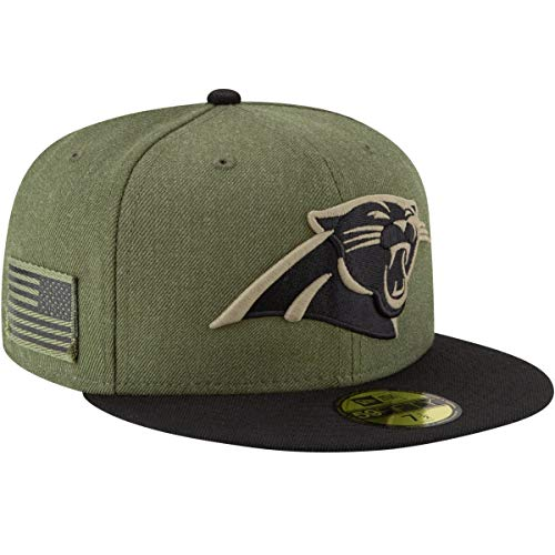 New Era Carolina Panthers On Field 18 Salute to Service Cap 59fifty 5950 Fitted Limited Edition, Green, 7 1/8 - 57cm (M)