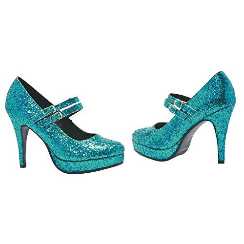 Blue Glitter Jane G Women's Costume Shoes: Size 8