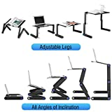 U-Kiss Laptop Stand Table Rotating 360 Folding Adjustable Laptop Desk Cooling Stand Mount Holder with Removable Mouse Pad, Stopper for Desk, Bed, Sofa, Black