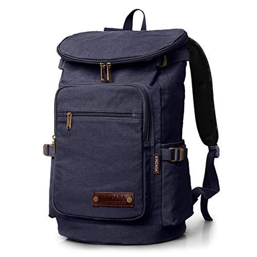 HZB Outdoor Doppel Schulter Computer Tasche Freizeit Reise Rucksack Canvas Sporttasche (Color : Blue Black)