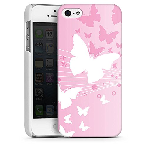 Apple iPhone 5 Housse Étui Silicone Coque Protection Papillon Cercles Fleurs CasDur blanc