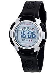 Montre digital Femme / Enfant - bracelet Plastique Noir - Cadran Rond Fond Gris et Noir - Marque Mingrui - MR8520