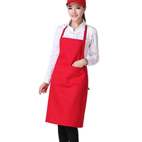 Gloryhonor colore solido posteriore self-tie cucina ristorante cucina grembiule con tasca, Poliestere, Black, taglia unica Red