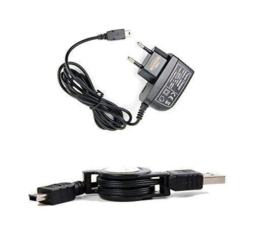 DURAGADGET Mini-USB-Kit: Daten-/Ladekabel und Ladegerät für Europa für Mio Cyclo 500 | 505c | 505 und 315 | 310 | 305 | 300 Outdoor-Navis -