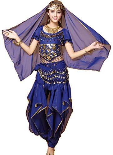 ZYLL Indian Bollywood Dame Bauchtanz Kleidung Frau Set Kleider Bellydance Kleid Anzug Rot Indian Bollywood TäNzer Tanzen KostüM (Jasmin Kostüm Rot)