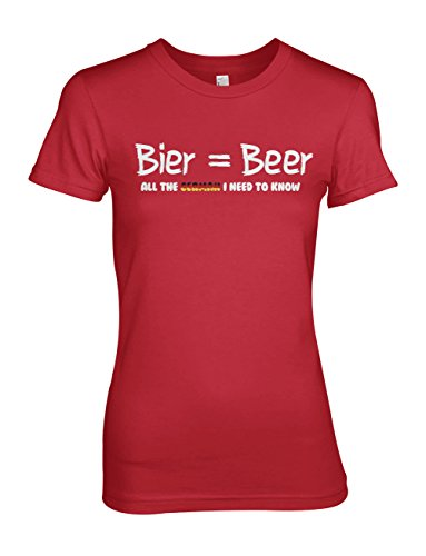 Beer All The German I Need To Know Komisch Damen T-Shirt Rot