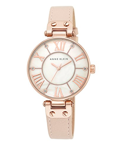 anne-klein-womens-the-signature-quartz-watch-with-mother-of-pearl-dial-analogue-display-and-pink-lea