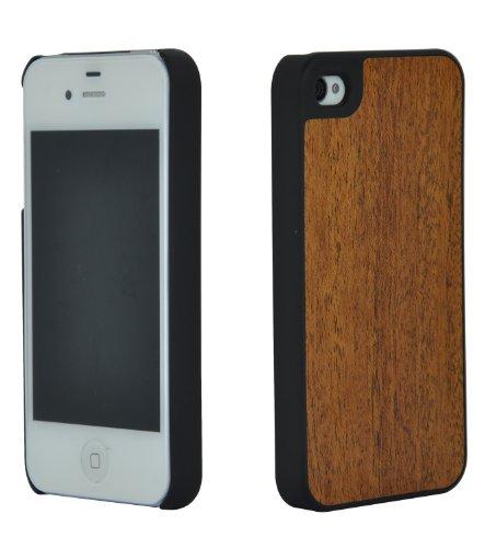 SunSmart (TM) Cas de bambou en bois pour Apple iPhone 4 / 4S - Véritable bambou bois Sauvegarde Shell de couverture de cas avec des bords en plastique durables(noyer) sapelli 2