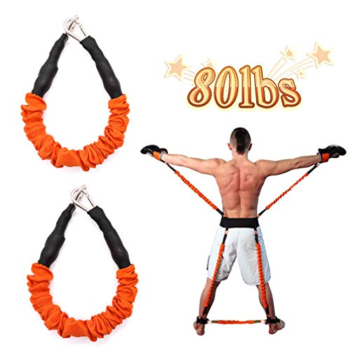 YNXing Widerstand Bands Stärke Arme Beine Hintern Muskeln Ideal für Bounce Taekwondo Boxen Karate Vertikalsprung Softball Baseball Basketball Volleyball Yoga Pilates Training (Orange17.7in/ 40lbs)