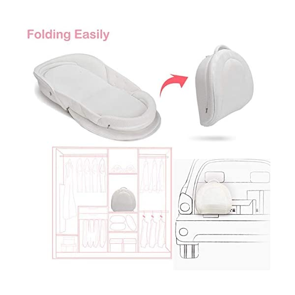 Bebamour Baby Bed Foldable Bassinet for Bed Bionic Travel Bed Womb-Like Protector Baby Snuggle Nest Bed Baby Sleeping Pods for 0-36 Months (Grey) bebear Premium Material: Using new materials produced in Germany which is made of 3D solid surface material on the basis of 'Warp Knitting' core technology. It's very durable, light and soft. Womb-Like Design: The womb encircling design simulates mother's warm womb, it can bring sufficient security to the baby and let the baby enjoy the comfortable sleep. Breathable & Washable: Thousands of hollowed-out mesh holes and elastic air layer can maintain air circulation. It can be taken apart to wash in the washing machine. 6