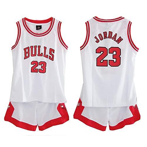 Daoseng Kind Jersey Bulls Vintage NBA-Champion Michael Jordan Jersey Chicago Bulls Nr. 23 Basketbal (Kind/Weiß, L/Kind Höhe 140-150CM) (Michael Jordans Für Kinder)