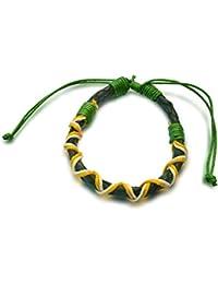 Armband Leder grün gelb weiß, Handarbeit