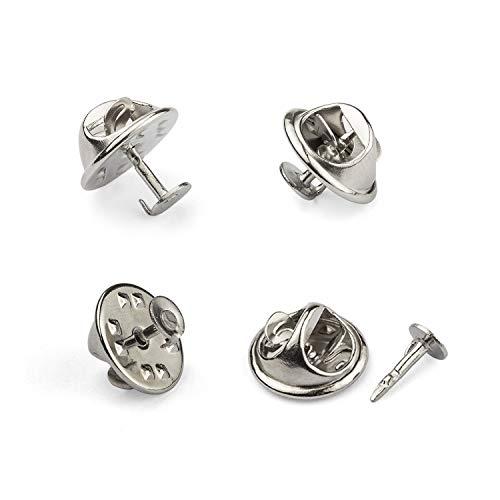 A+Selected 100 Stück Schmetterling Metall Pin Rückseite - Revers Badge Back Ersatz mit Hornnnadel - Silber