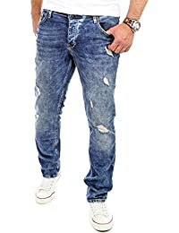 Reslad Jeans-Herren Destroyed Look Slim Fit Stretch Denim Jeans-Hose RS-2069