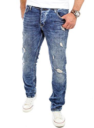 Reslad Jeans Herren Slim Fit Destroyed Herren-Hose Jeanshose Männer Jeans Hosen Stretch Denim RS-2069 Blau W30 / L32