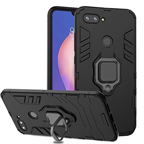 Ferilinso für Xiaomi Mi 8 Lite Hülle, Hybrid robuste Rüstung Dual Layer Heavy Duty Harte PC zurück Fall mit Ring Grip Kickstand & Unterstützung magnetische Auto-Mount-Funktion (Schwarz) -