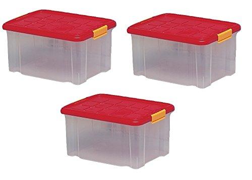 4 Boîtes De Rangement Plastique, Transparente Avec Couvercle, Bac