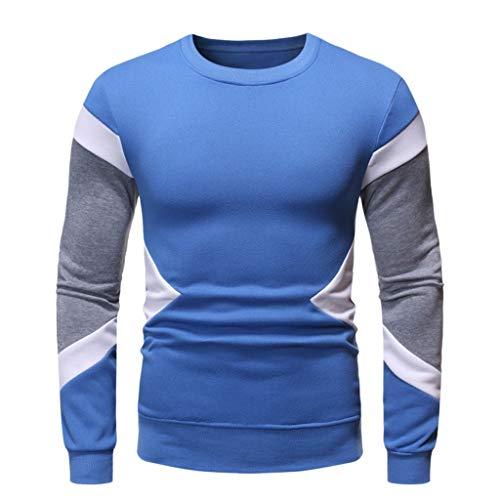 DNOQN Sportshirt Herren T Shirt Topshop Poloshirt Herbst Winter Langarm Sweatshirt Patchwork Outwear Tops Bluse Blau XL