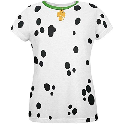 St Patricks Tag Hund Dalmatiner Kostüm grüner Kragen Shamrock aller Damen T Shirt Multi (Tag Shirt St Patricks Damen)