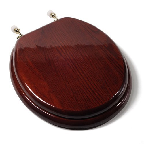 Comfort Seats C1B1R16BR Designer Solid Wood Toilet Seat with PVD Brass Hinges, Round, Mahogany by Comfort Seats