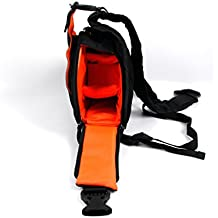 Sac à dos forme triangle pour appareil photo reflex Panasonic Lumix DMC-FT6, DMC-TS30, DMC-TS6, DMC-ZS45 et DMC-ZS50 – Noir / Orange – Multi-poches et séparateurs – Par DURAGADGET