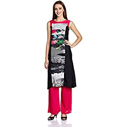 W for Woman Women's Straight Kurta (16AU16058-58126-12-GREY)