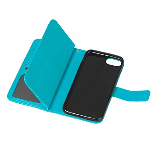 iPhone Case Cover Flip Folio Solid Color Premium Kunstleder Ständer Wallet mit 9 Card Cash Slots für IPhone 7 Plus ( Color : Brown , Size : IPhone 7 Plus ) Blue