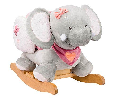Nattou Schaukeltier ab 1 Jahr mit Gurt, Mädchen, rosa - Adèle der Elefant