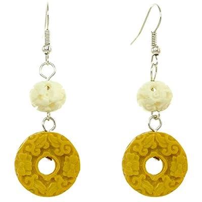 Boucles D'oreilles boule relief floral blanche donut jaune moutarde