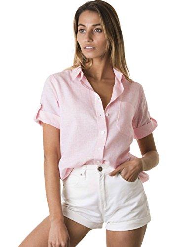CAMIXA Casual Hemd Aus kühlem Leinen-Mix Brusttasche Kurzarm-Bluse lässige Top XS Rosa -