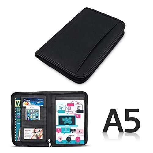 Leder Konferenzmappe A5 Ordner mit Reißverschluss Schreibblock mit Taschen und Kartenhalter für Telefon, Notebook