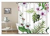 AmDxD Polyester Duschvorhang Blatt Blumen Design Badewannenvorhang Bad Vorhang Weiß für Badezimmer Waschbar 150x180CM