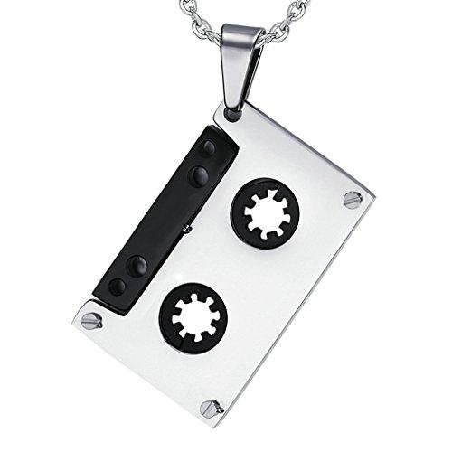 Epinki Herren Halskette, Edelstahl Tonband Audiokassetten Form Anhänger Herrenhalskette 4.9CM Silber