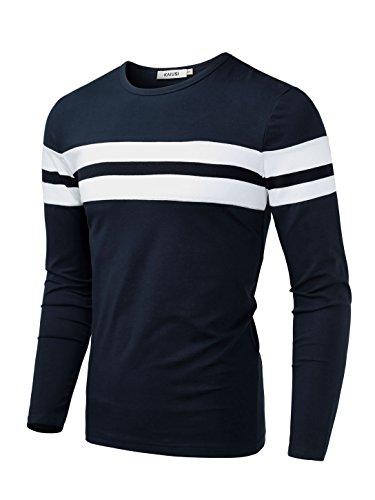 KAIUSI Herren Rundkragen Streifen Langarmshirt Blau-Weiss X-Large (Streifen Shirt Weiß Blau)