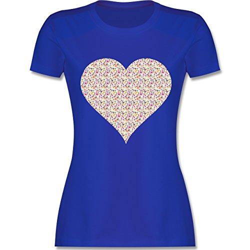 Vintage Herz Blumen bunt tailliertes Premium TShirt mit Rundhalsausschnitt  für Damen Royalblau