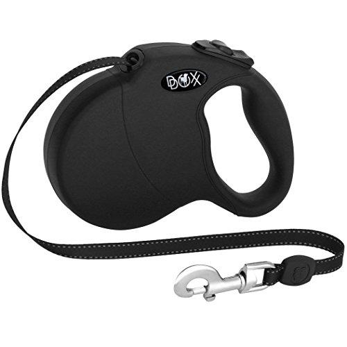 DDOXX Roll-Leine reflektierend | M | 5 m | bis 20 kg | Schwarz | Soft Griff | Hundeleine | für große, mittelgroße, mittlere & kleine Hunde Katzen| Hundeleinen | Gurt-Leine| Flexi ble Leine Hund Katze