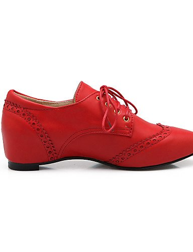ZQ 2016 Scarpe Donna - Stringate - Casual - Comoda / A punta - Zeppa - Finta pelle - Nero / Rosa / Rosso / Beige , red-us8.5 / eu39 / uk6.5 / cn40 , red-us8.5 / eu39 / uk6.5 / cn40 beige-us5.5 / eu36 / uk3.5 / cn35