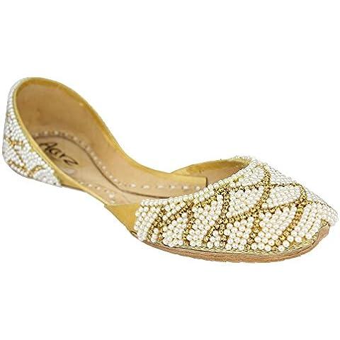 Aarz señoras de las mujeres tradicional india hecha a mano con cuentas ocasional de cuero plano de la bomba Khussa tamaño de los zapatos (oro, plata)