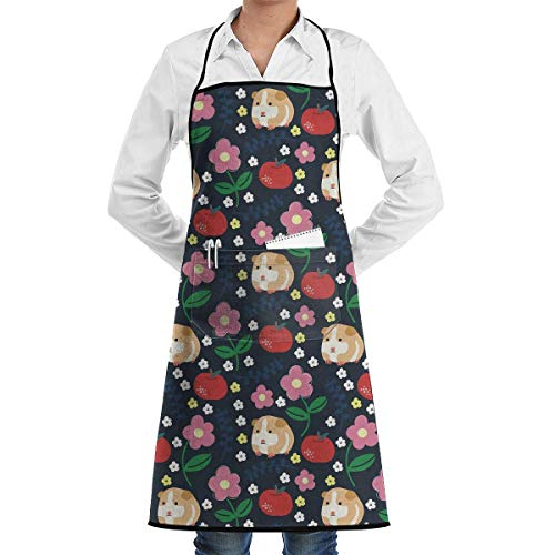 Drempad Schürzen Guinea Pigs and Apples Bib Apron Chef Apron - with Pockets for Male and Female,Waterproof, Resistant to Droplets, Durable, Machine Washable, Comfortable, Easy Care Apron - Apple-weiß-kleidung