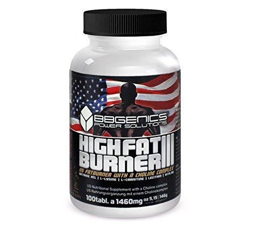 BBGenics HighFat Burner 3 I Effektives Abnehmen I Premium Fatburner I Fettverbrenner Mit Inositol + Cholin Komplex + Vitamin B6 - 100 Tabletten -
