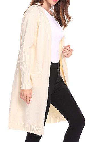 Modfine Damen Strickjacke Strickmantel Cardigan Classic Basics Oberteile Outwear in Schlichter Elegant mit V-Ausschnitt Beige