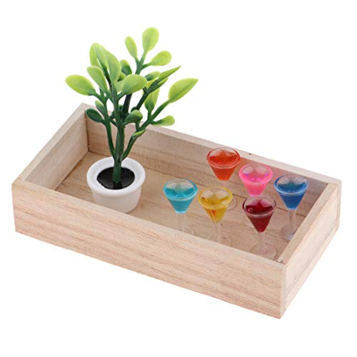 D DOLITY 1:12 Puppenhaus Zubehör Miniatur Grüne Pflanze, Holzkiste und XO Weinflasche/ Cocktailglas/ Becher Modell Kit - # B - Modell Becher B