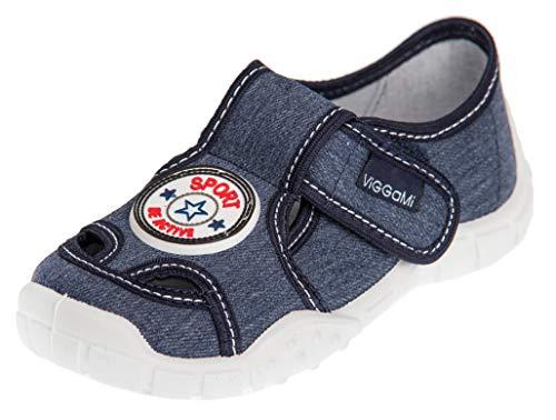 Viggami I.T.G. Jungen Hausschuhe mit Klettverschluss Adas (Jeans/Sport, 30)
