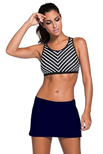 Aleumdr Damen Baderock figuroptimierender Strandrock UV Schutz Wassersport Bikinirock Badeshorts Skorts Navy Dunkelblau XX-Large