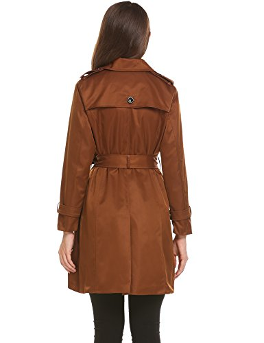 Zeela Damen Klassischer Doppel-breasted Trenchcoat mit Gürtel Langer Warmer Mantel Übergangsmantel Kaffee