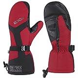 EXski Guanti Winter Termici Impermeabile Snowboard Motoslitta Guanti Muffole Uomo Donna (Rosso, S)