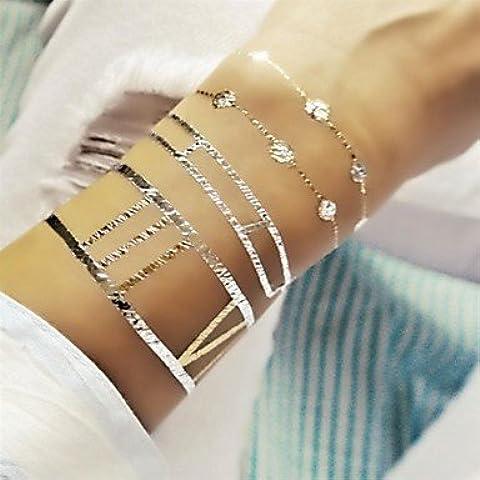 HJLWST® 1pcs joyas pulsera larga inspirado de oro y plata metálicos pegatinas tatuaje tatuajes