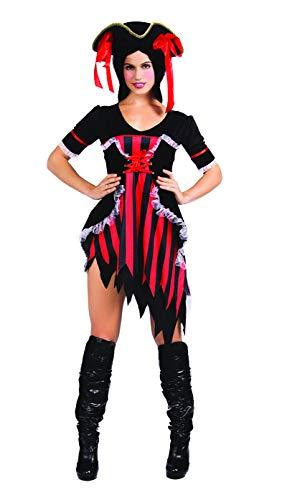 SYMTOP Halloween Kostüm Damen Verkleidung Erwachsene Pirat Karibik Kleid Outfit Cosplay Party mit Hut Größe S